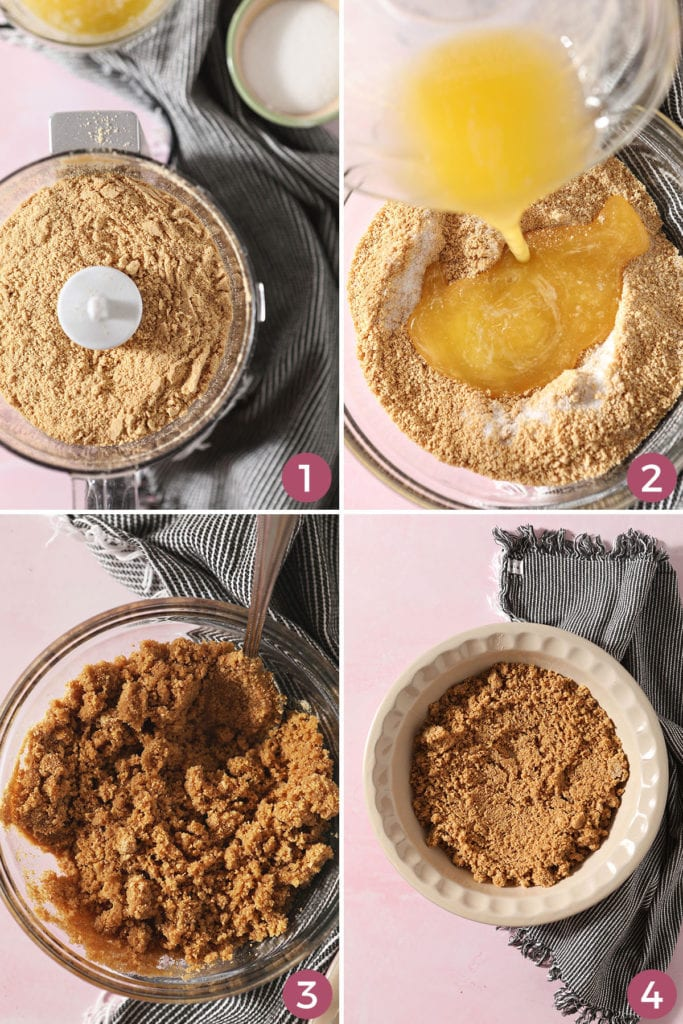 Collage of four image showing how to make a graham cracker pie crust