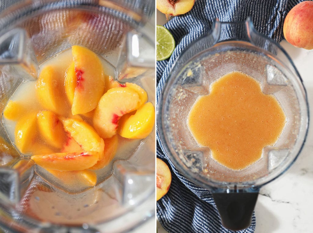 Collage of peaches and other ingredients before and after blending