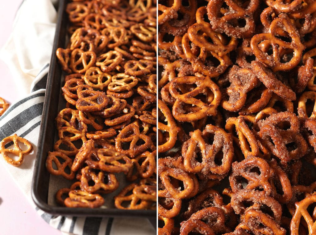 Collage showing Cinnamon Sugar Pretzels before and after baking
