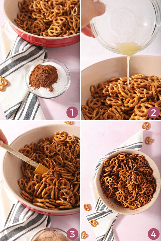 Collage showing how to make pretzels coated with cinnamon sugar