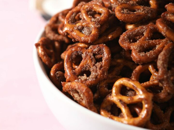 Close up of Cinnamon Sugar Pretzels in a white bowl