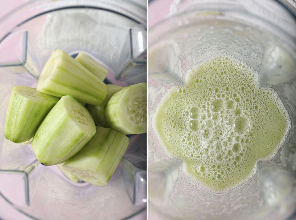 Collage showing how to make cucumber juice