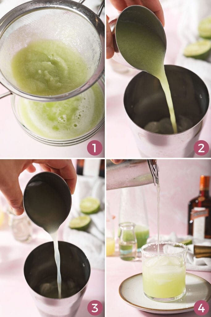 Collage showing how to mix cucumber margaritas on the rocks