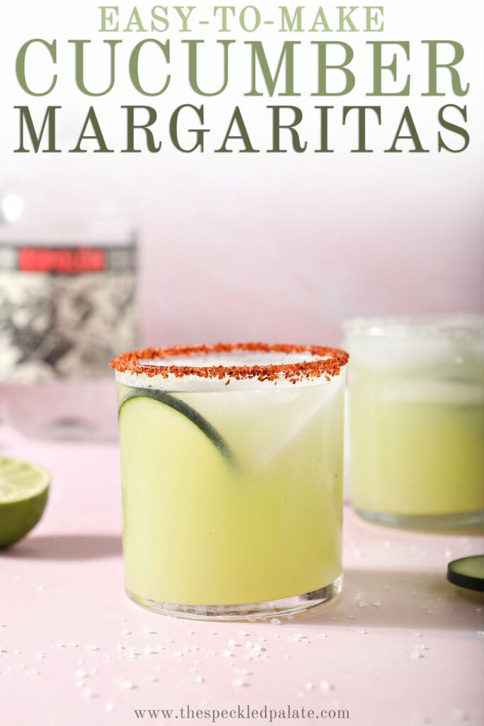 A cucumber margarita on a pink countertop with the text easy to make cucumber margarita