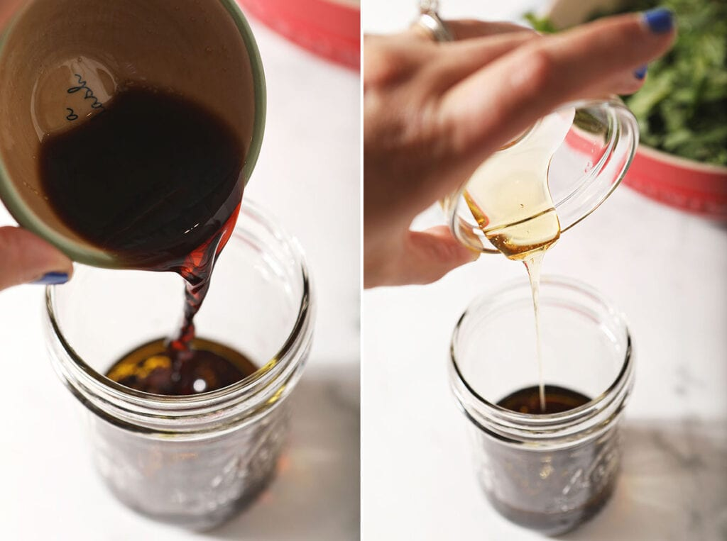 Collage showing how to make homemade balsamic vinaigrette