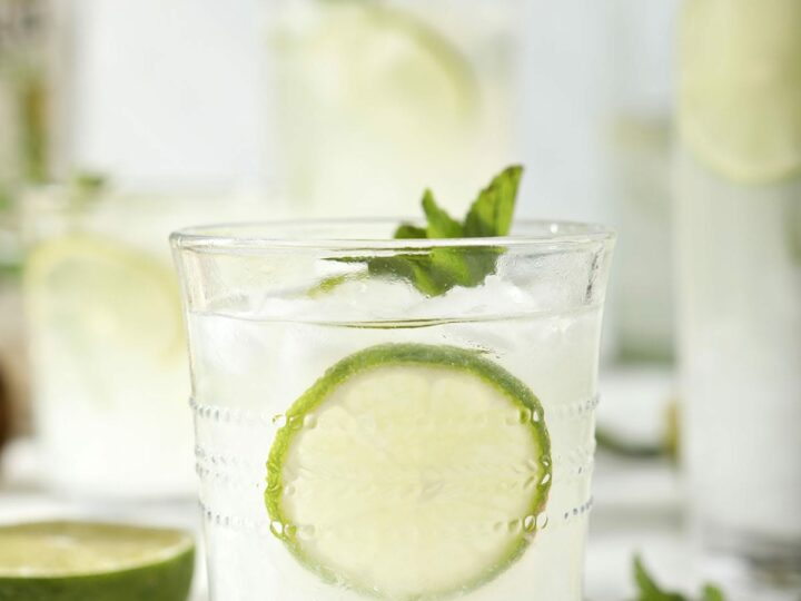 A mojito in a clear glass with lime rounds and mint
