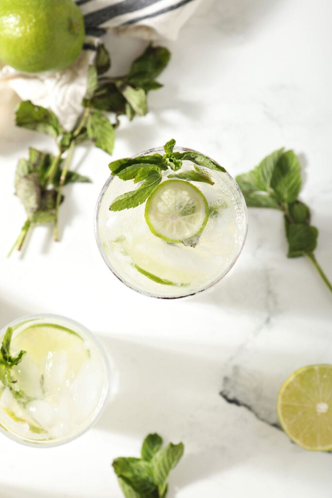 Two mojitos with extra mint and lime garnishes