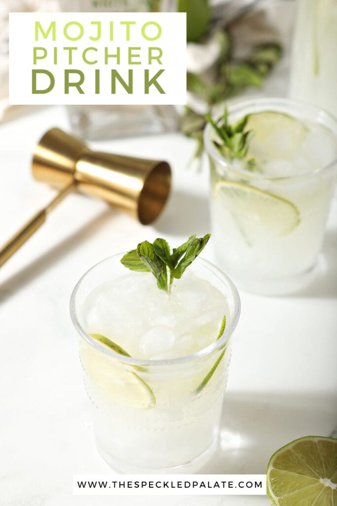 Three mojitos with a gold jigger with the text mojito pitcher drink