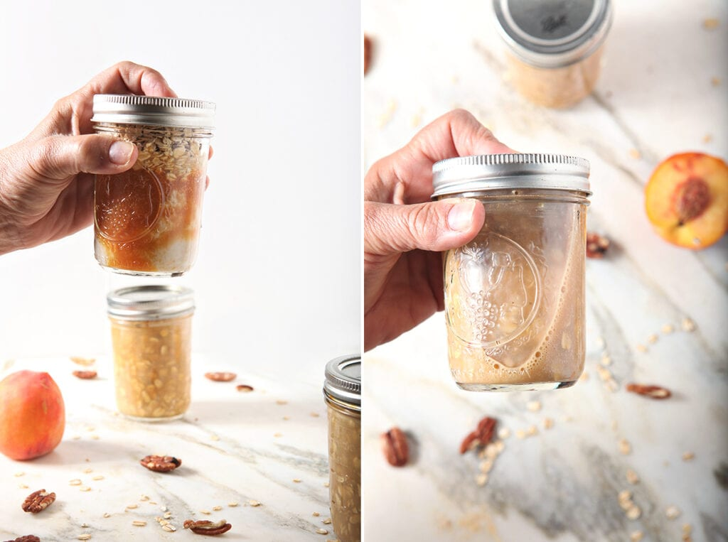 Collage of two images showing how to shake vegan overnight oats