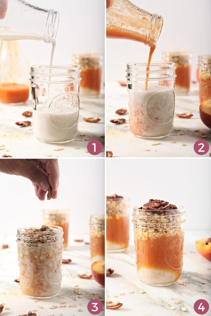 Collage of four images showing how to layer overnight oats ingredients into a jar