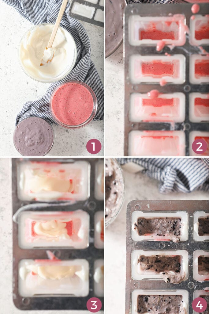 Collage showing how to layer colors into popsicle mold