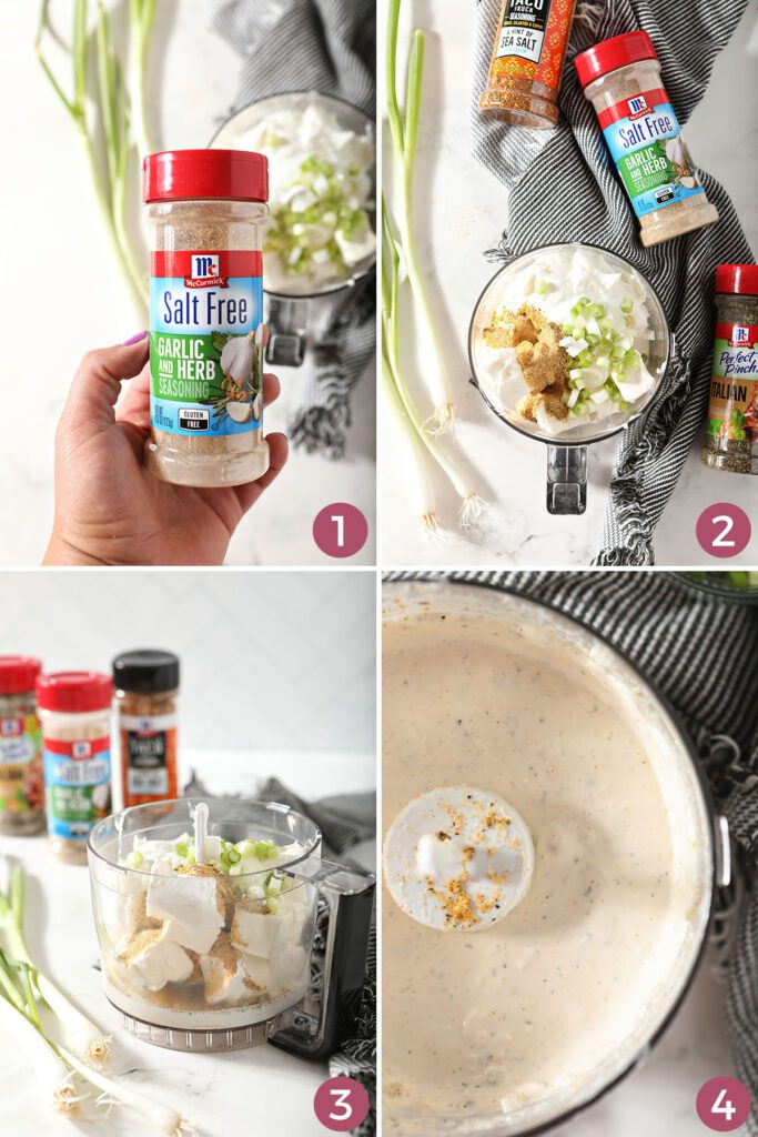 Collage showing how to make a cream cheese dip recipe