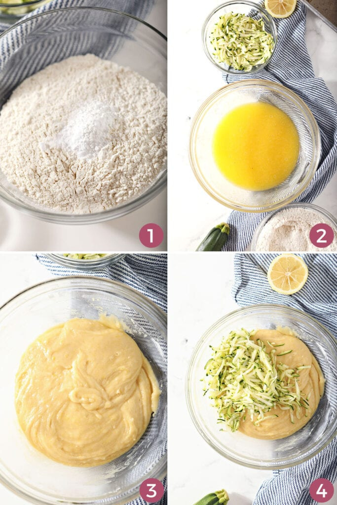 Collage showing how to mix zucchini bread batter
