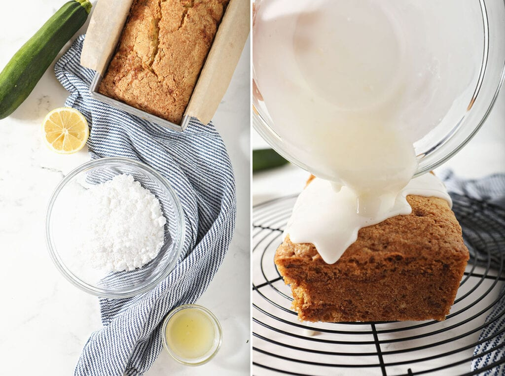 Collage showing lemon icing ingredients and a loaf being iced