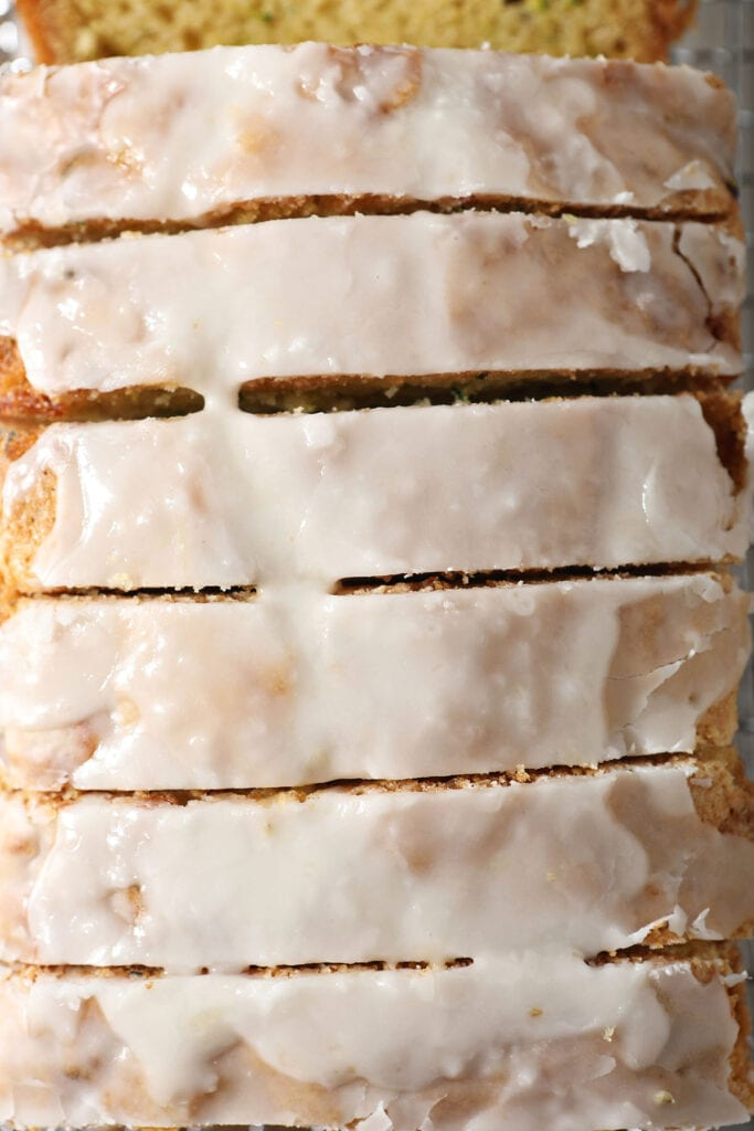 Slices of iced quick bread