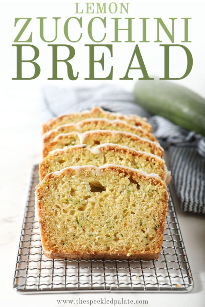 Slices of iced bread on a wire rack with the text lemon zucchini bread