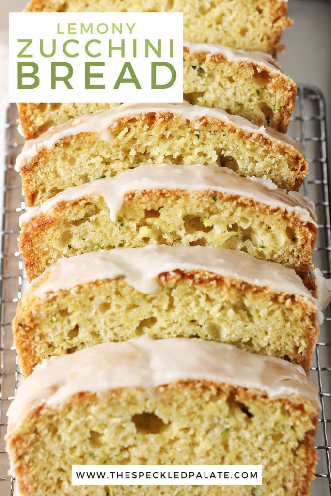 Slices of iced bread on a wire rack with the text lemony zucchini bread