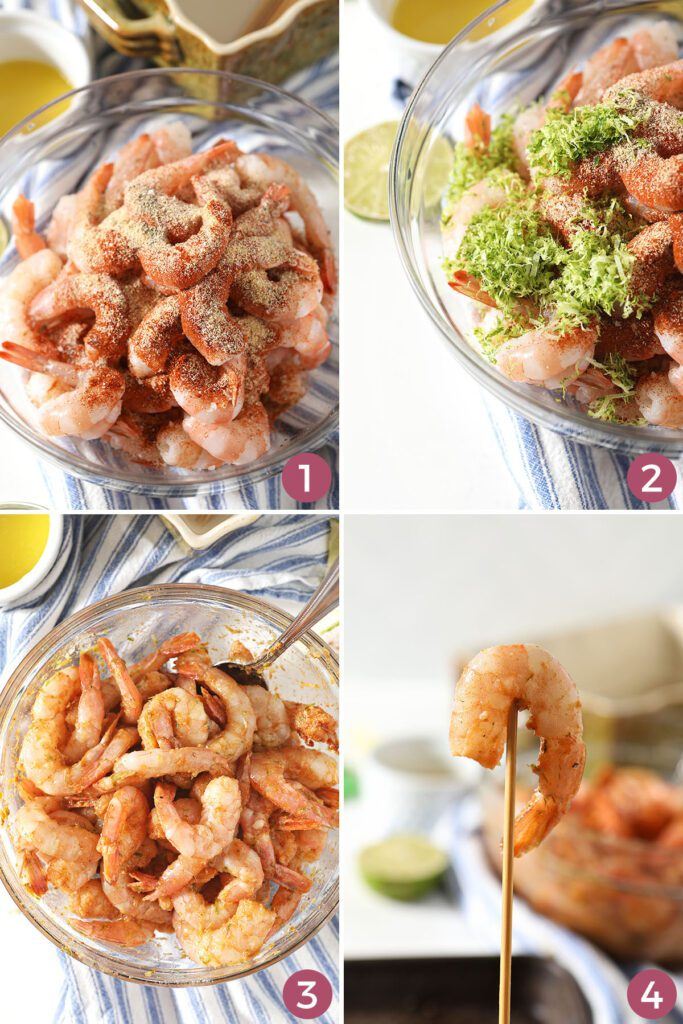 Collage showing how to season and skewer shrimp
