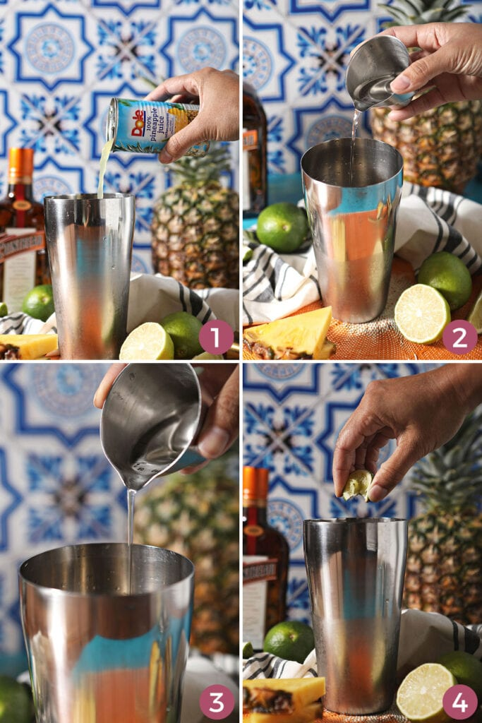 Collage of four images showing how to mix the pineapple margarita recipe