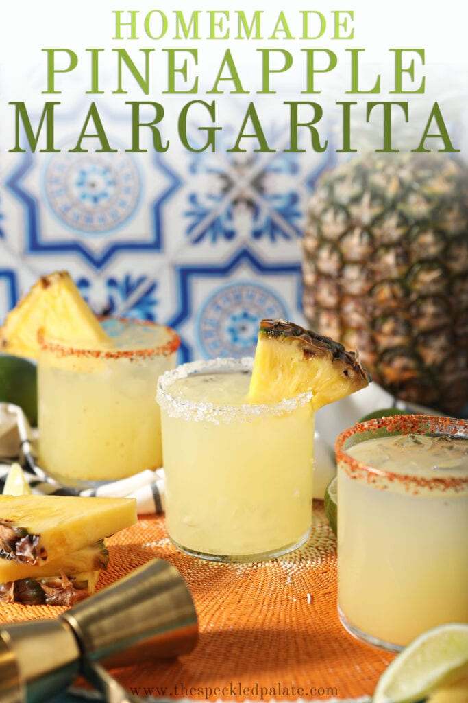 Three yellow margaritas in glasses with the text homemade pineapple margarita