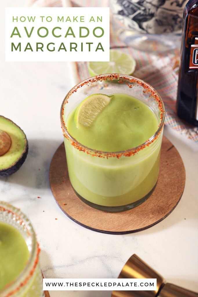 Two glasses of a green drink with the text how to make an avocado margarita