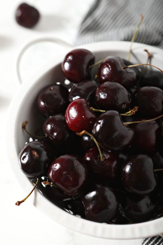 A bowl of dark sweet cherries
