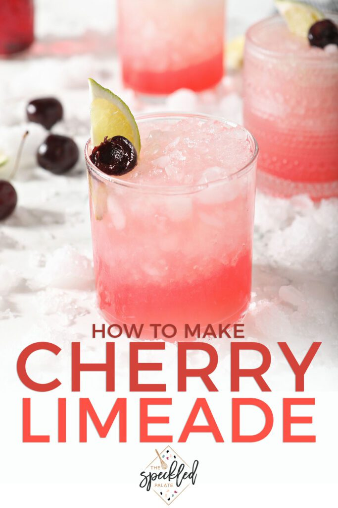 A glass of a pink mocktail with the text how to make cherry limeade