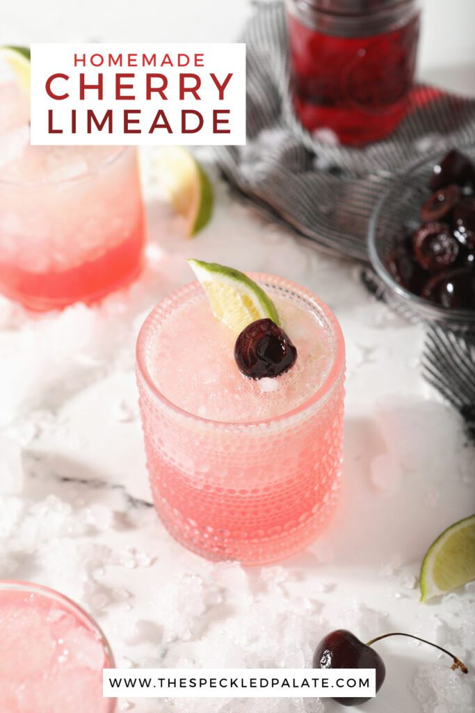 Three cherry limeades in glasses with the text homemade cherry limeade