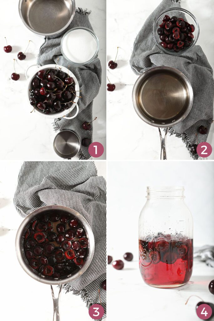 A collage showing how to make homemade cherry syrup with fresh cherries