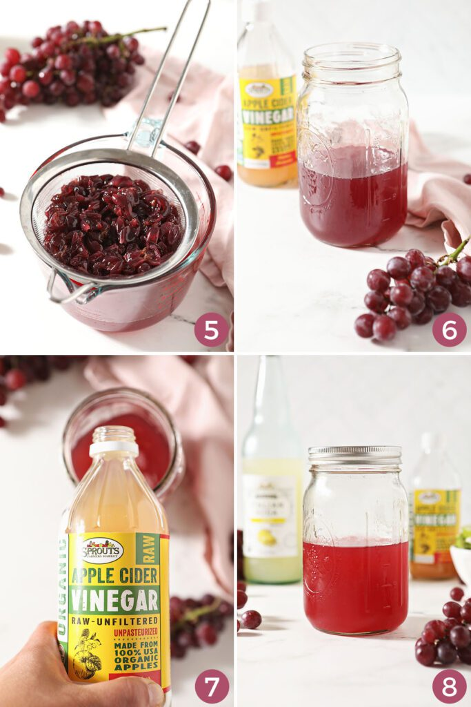 Collage showing how to make the apple cider vinegar drink recipe