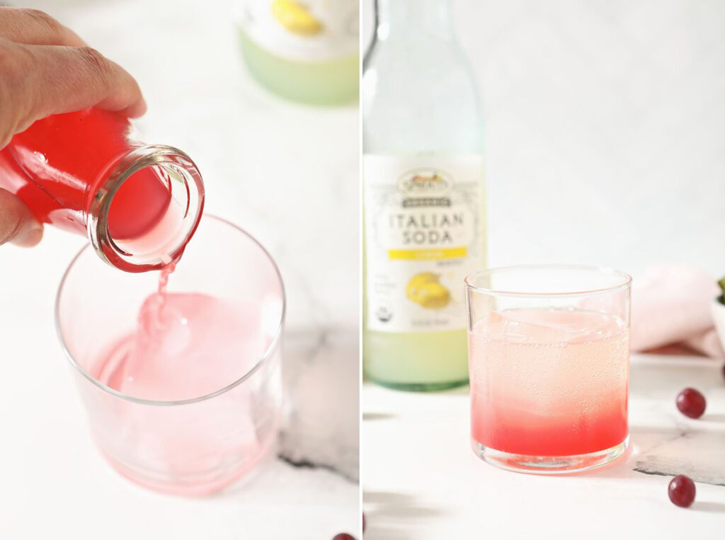 Collage showing how to make a shrub drink cocktail