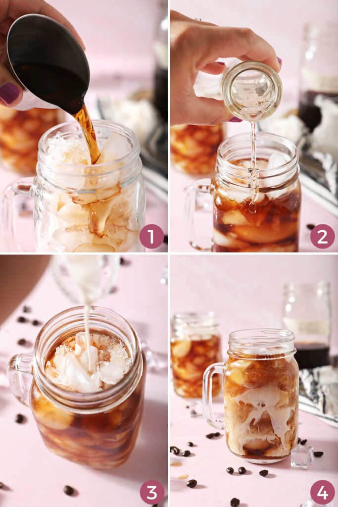 Collage showing how to make a Vanilla Sweet Cream Cold Brew