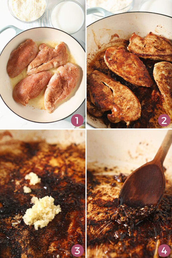 Collage showing how to make cajun chicken