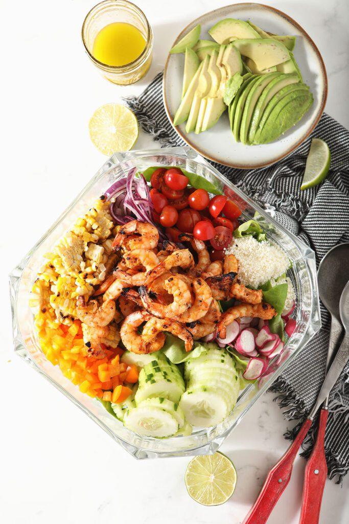 Grilled Shrimp Salad ingredients in a bowl