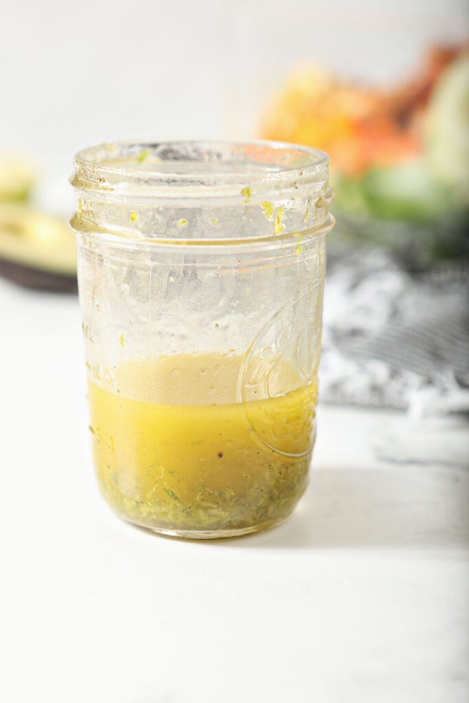 Lime vinaigrette in a mason jar