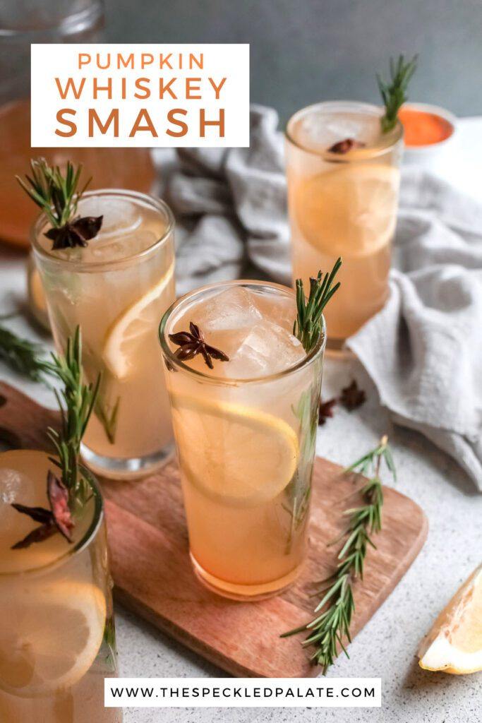 Four cocktails garnished with star anise, lemon and rosemary with the text pumpkin whiskey smash