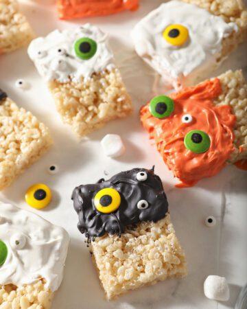 Rice krispie treats decorated as Halloween monsters
