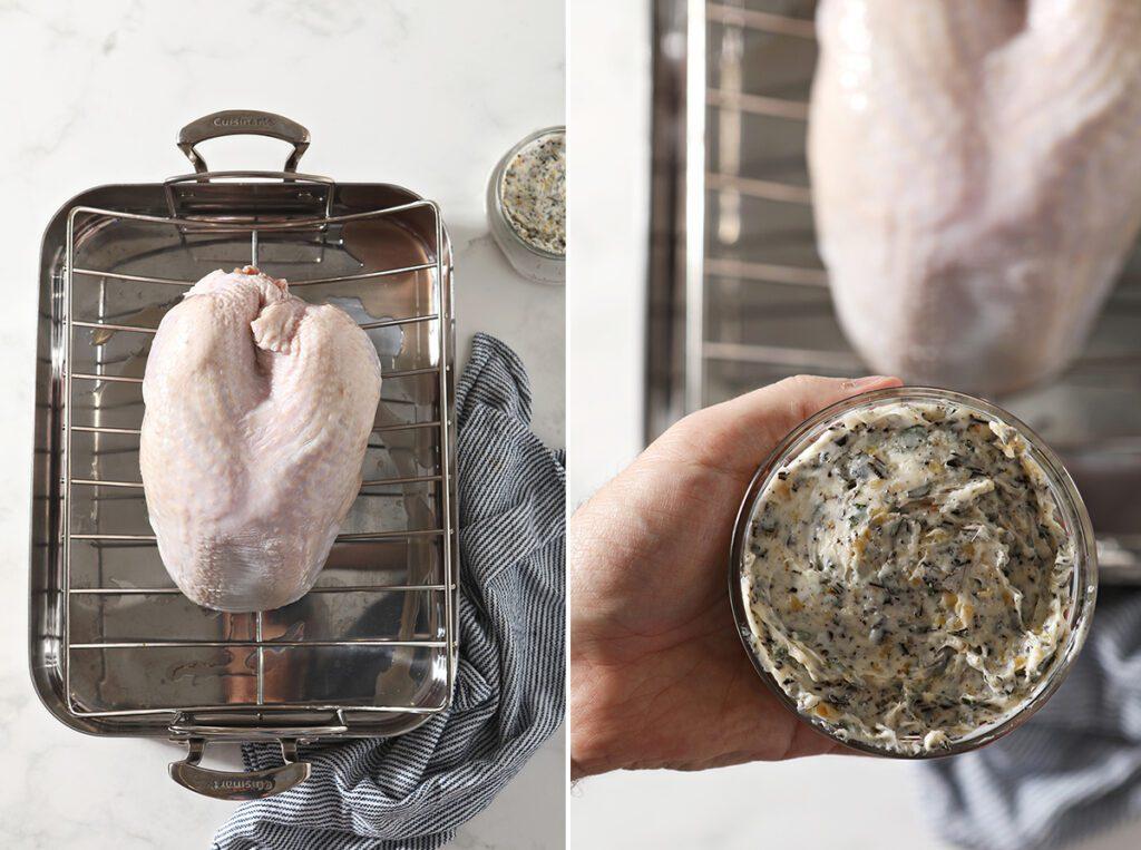 Collage showing herb butter turkey ingredients