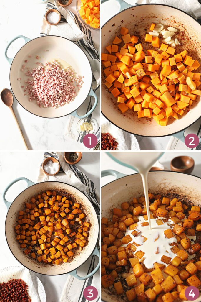 Collage showing how to cook pancetta and butternut squash