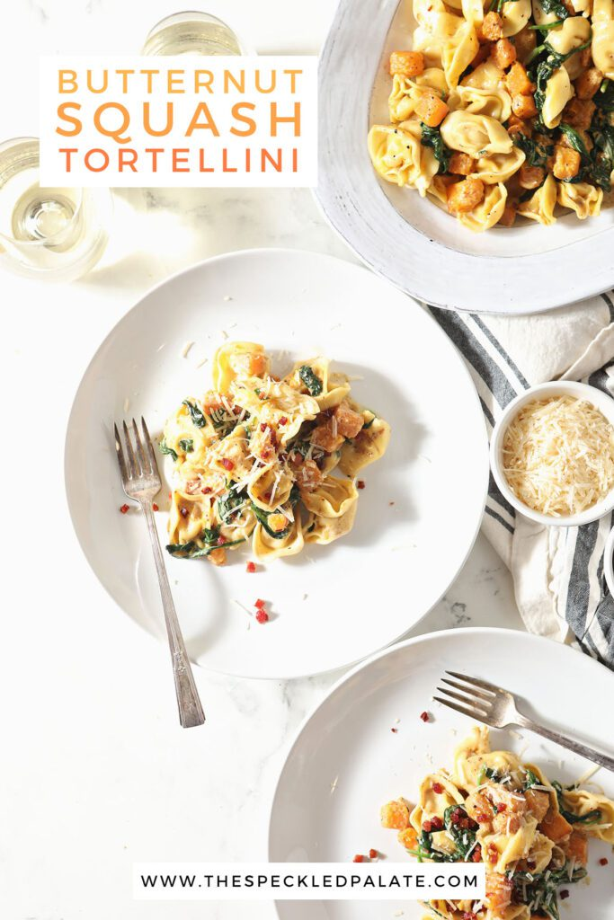 Three plates of pasta with the text butternut squash tortellini